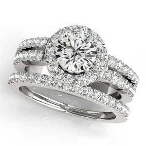 Two Row Diamond Halo Bridal Set
