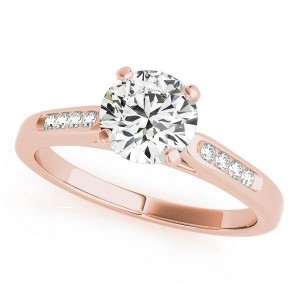 Rose gold channel diamond ring