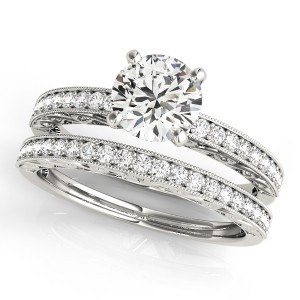 Vintage pave diamond bridal set