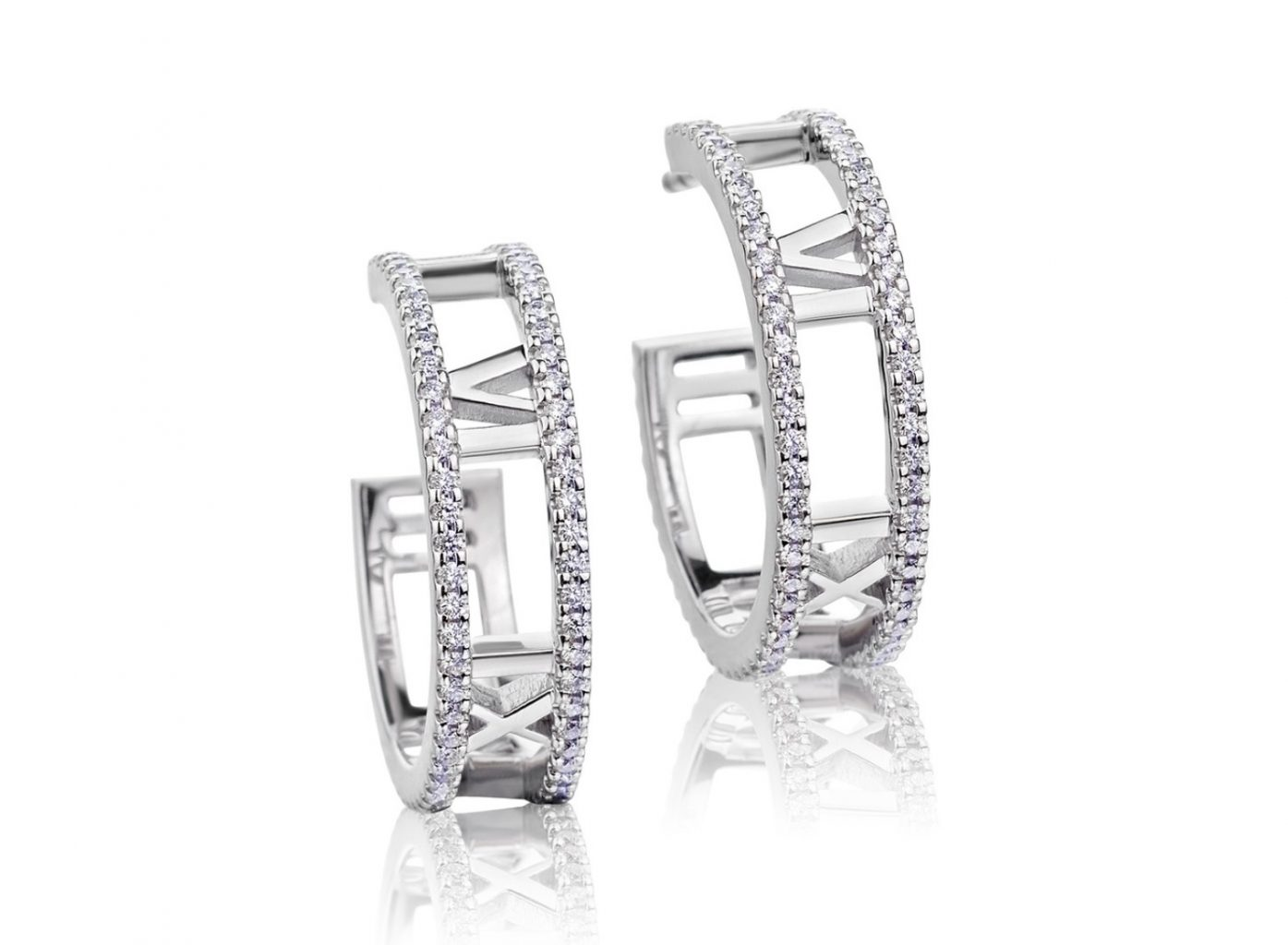 c3c0b0716 Tiffany & Co. 18K White Gold Atlas Diamond Hoop Earrings - Top Rate ...